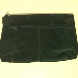 Green Suede Clutch Purse Bag Made in Italy Liner